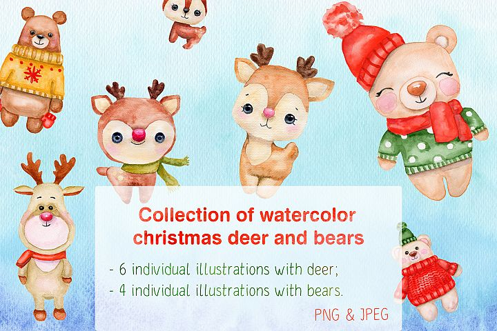 Collection of watercolor Christmas deer and bears
