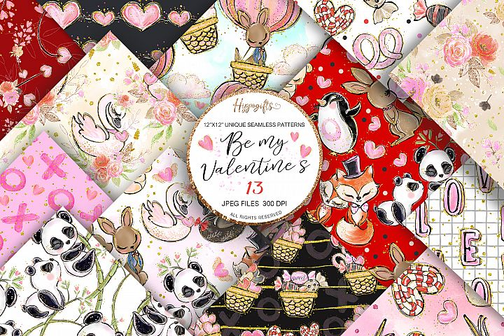 Valentines patterns,Animal love,Love is in the air