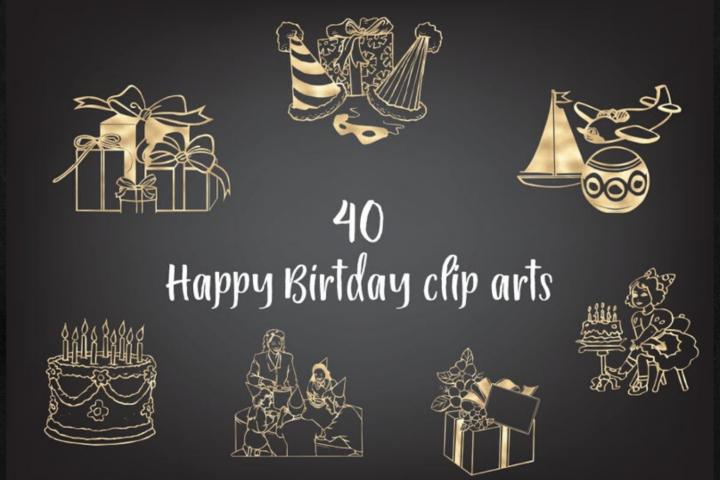 Hand Drawn Style Happy Birthday clipart, Gold Foils Birthday