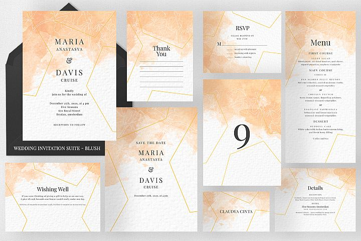 Peach Watercolor Invitation Suite