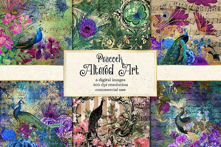 Peacock Altered Art Digital Paper
