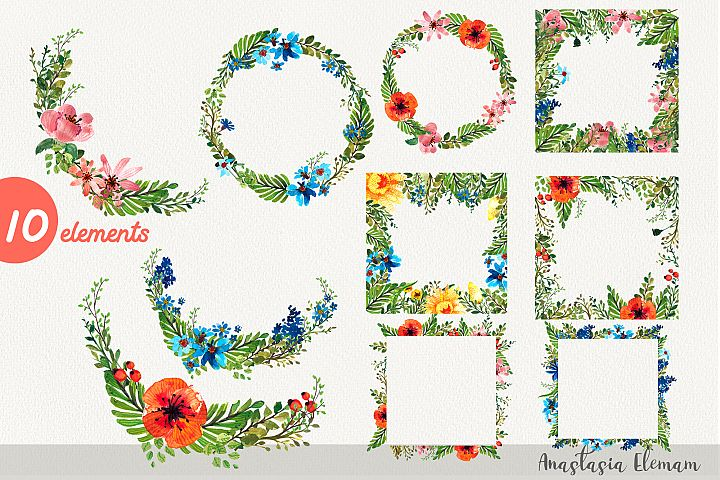 Frames and wreaths flower power 10 isolated clipart jpg png