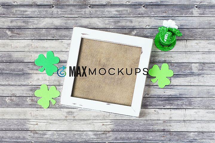 White square Frame Mockup, St Patricks shamrocks