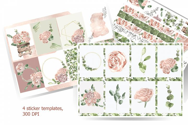 Template for printing labels in boho watercolor style