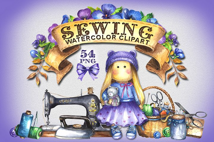 Sewing watercolor clipart