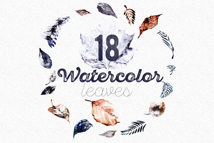 Set of 18 Watercolor Handpainted Leaves, HQ PNG files
