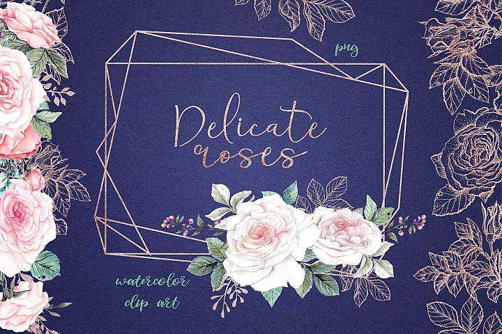 Delicate Roses Watercolor Clip Art