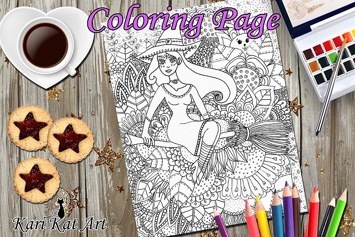 Floral witch, Printable coloring page, Digital Stamp, magici