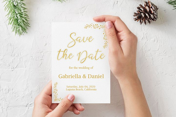 Gold Printable Save The Date, instan download, DAD_04