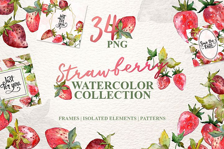 Strawberry collection Watercolor png