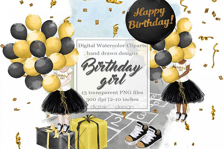 Birthday Girl Black and Gold- Clipart