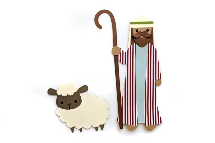 Good Shepherd with Sheep SVG Design