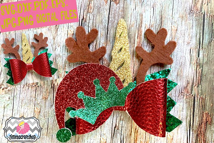 Christmas Elf Unicorn Reindeer Antler Hair Bow Template