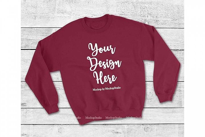 Maroon Sweatshirt Mock Up, Unisex Sweatshirt Flat Lay Displa