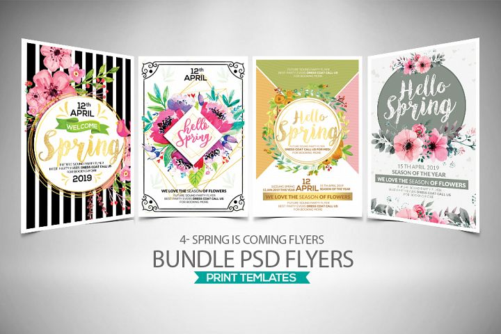 4 Spring Coming Flyers Bundle