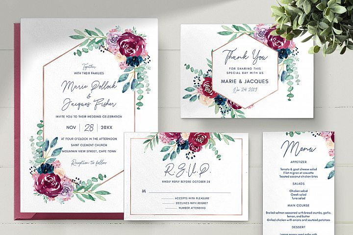 Burgundy and Navy Wedding Invitation Set