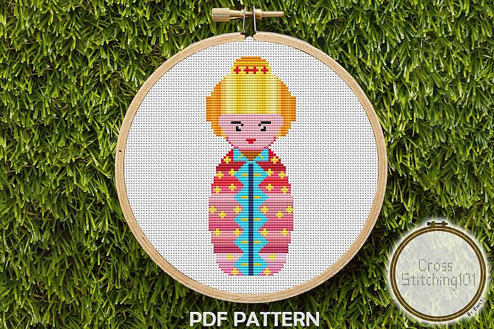 Russian Doll Cross Stitch Pattern - Instant Download PDF