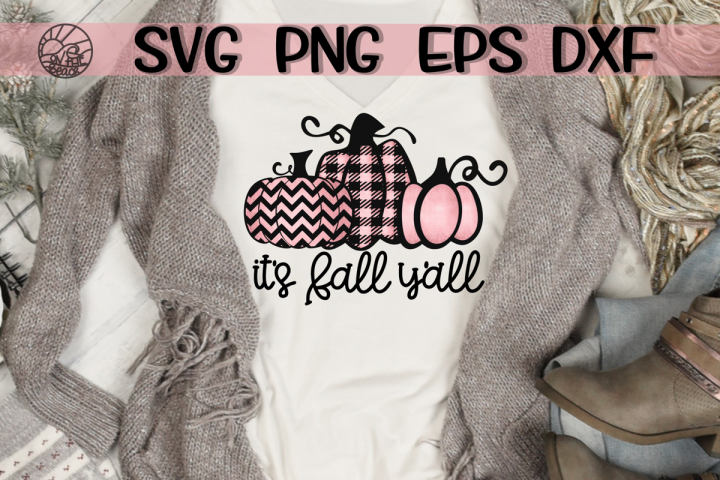 Its Fall Yall - Pink Pumpkin - SVG PNG DXF EPS