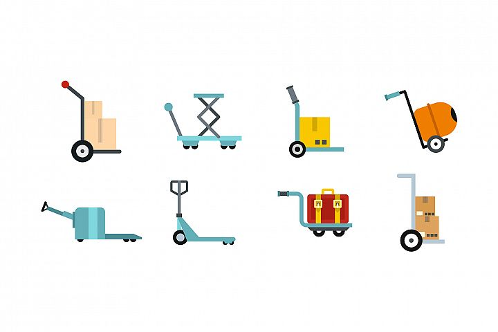 Wharehouse cart icon set, flat style