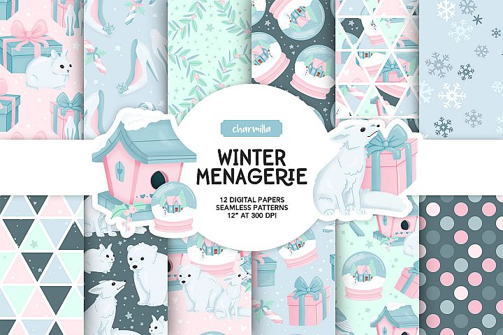 Winter Animals Digital Papers