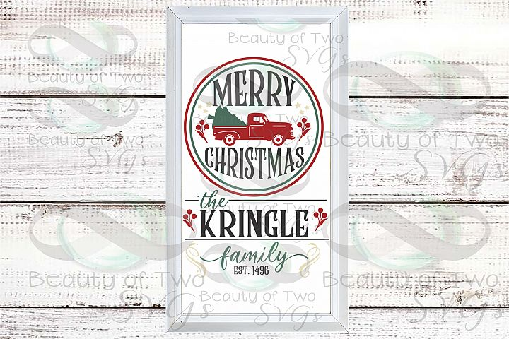 Customize Merry Christmas Vintage Truck Last Name sign svg
