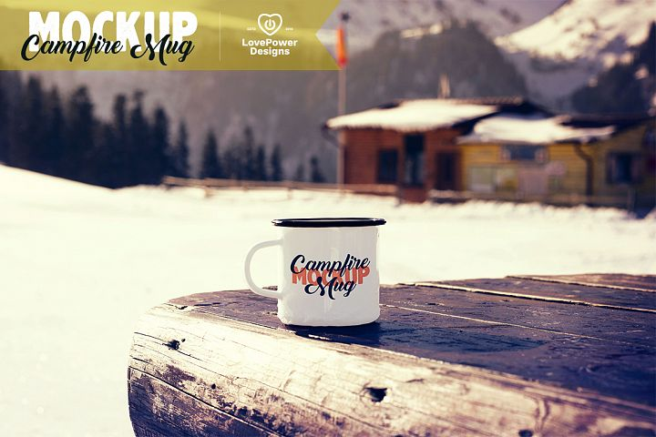 Enamel Mug Mockup / Tin Mug on Picnic Table Mockup /