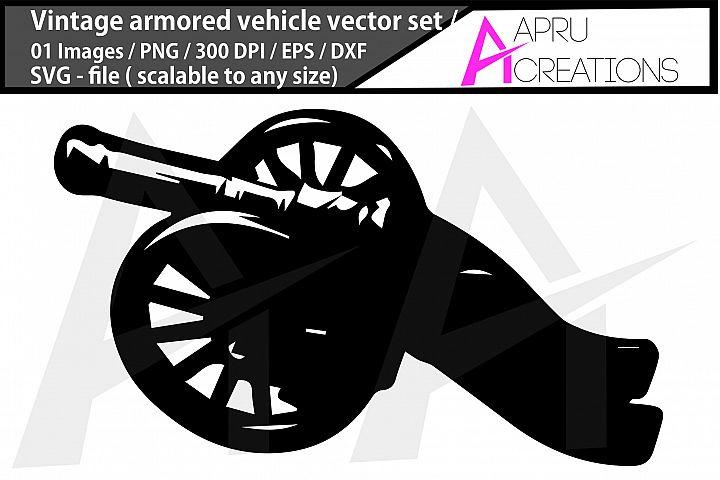 vintage armored vehicle svg/ vintage armored silhouette