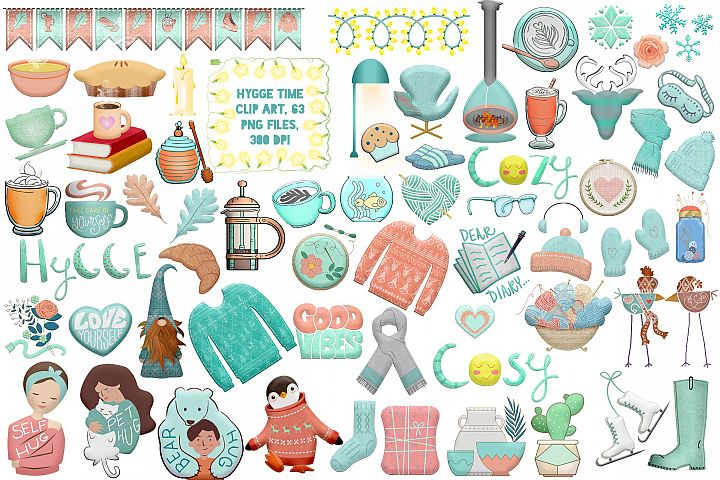Hygge Time Winter and Autumn Clip Art