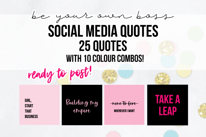 25 x Pink & Black Be Your Own Boss Social Media Quotes