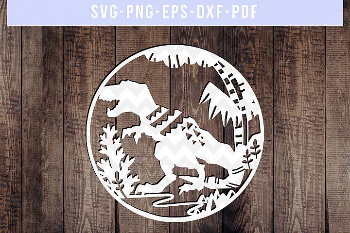 Dinosaur Papercut Template, T-Rex SVG, Baby Cut File DXF PDF