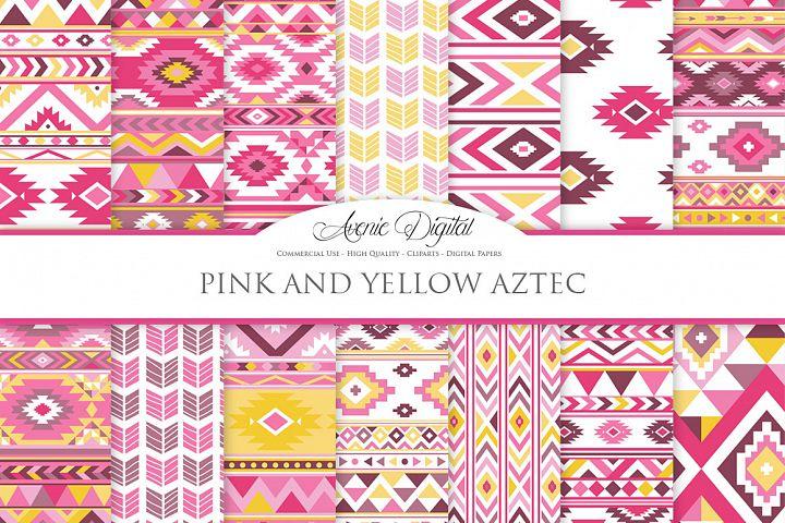 Pink and Yellow Boho Seamless Patterns