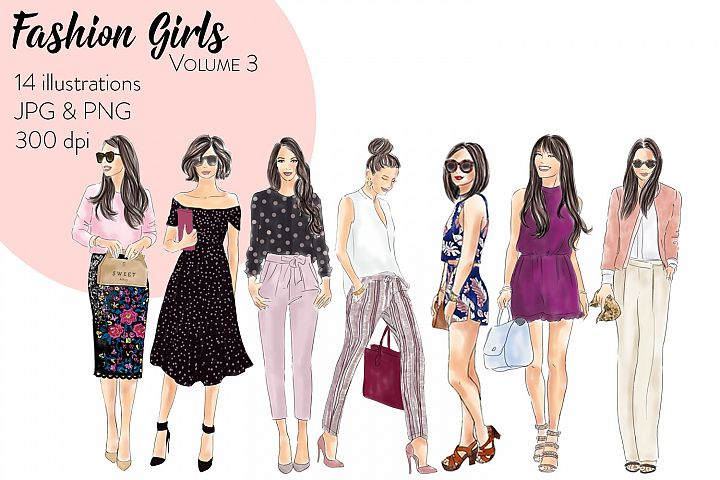 Fashion Girls - Volume 3 fashion illustration clipart