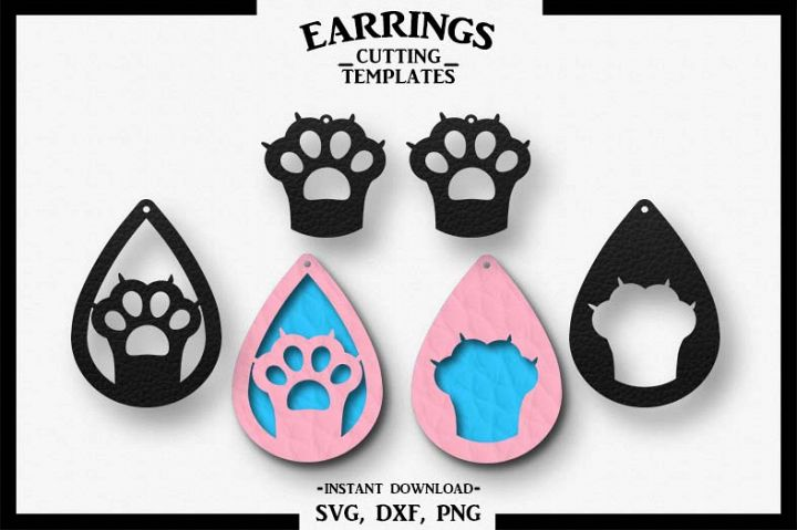 Cat Earrings, Paw, Silhouette, Cricut, Cut File, SVG DXF PNG