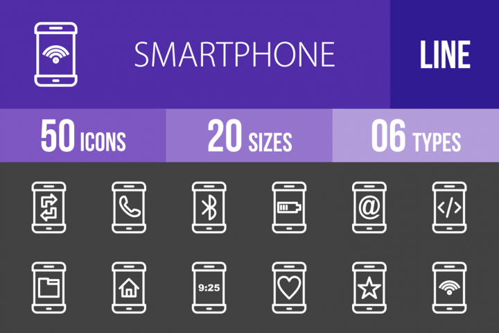 50 Smartphone Line Inverted Icons