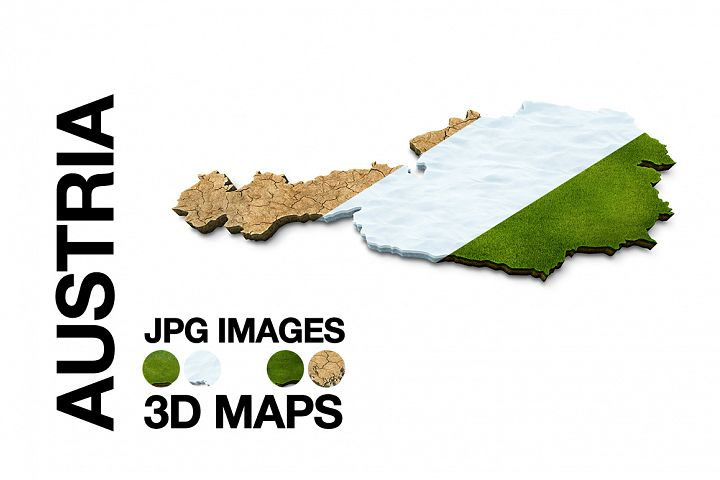 AUSTRIA 3D Maps Images Dry Earth Snow Grass Terrain Sand