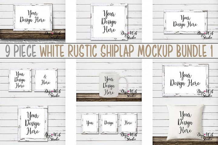 Mockup Bundle -White Rustic Shiplap Wood Signs, Pillow & Mug