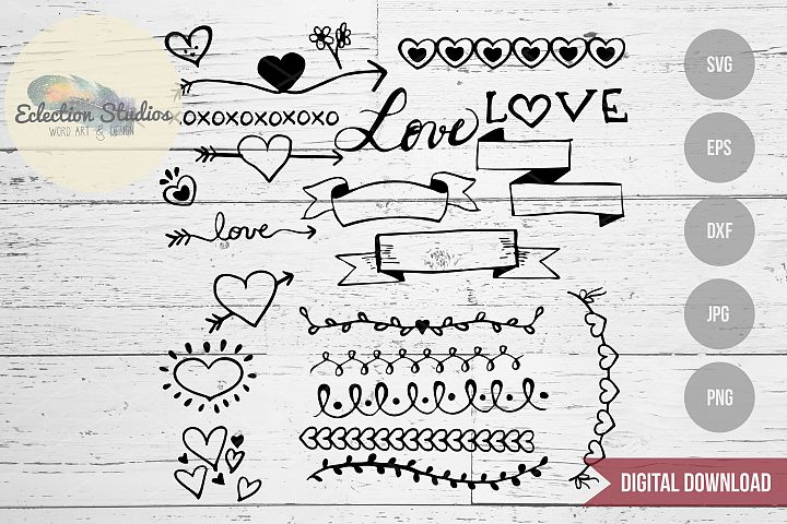 Valentine Love Doodles, Wedding Doodles SVG Bundle