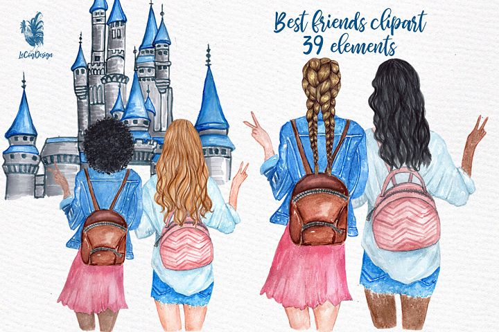 Best Friends Girls Clip art