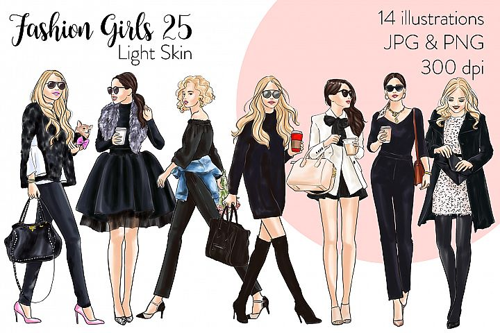 Fashion illustration clipart - Fashion Girls 25 - Light Skin