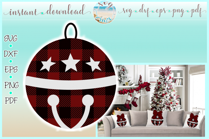 Jingle Bell Buffalo Plaid Christmas SVG Dxf Eps Png PDF file