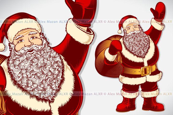 Vector Santa Claus Cartoon Character Vintage Ink Drawing Pop Art Color