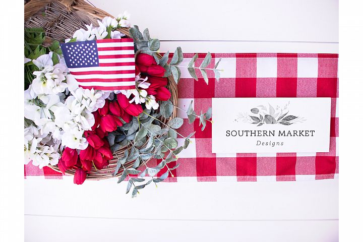 Patriotic Summer Wood 4x12 Sign Mock Up Stock Photo