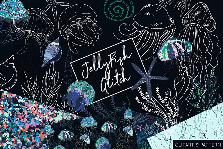 Jelly Fish Clipart and Pattern Collection - JellyFish