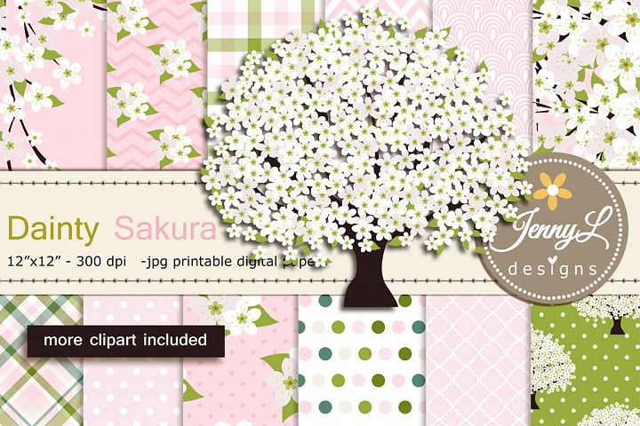 White Cherry Blossoms Digital Papers and Sakura Clipart
