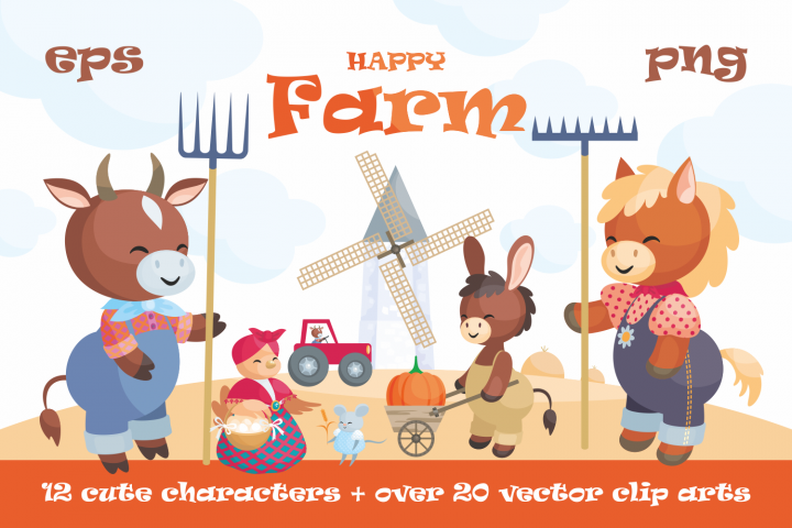 Happy Farm. Cute animals and harvest.