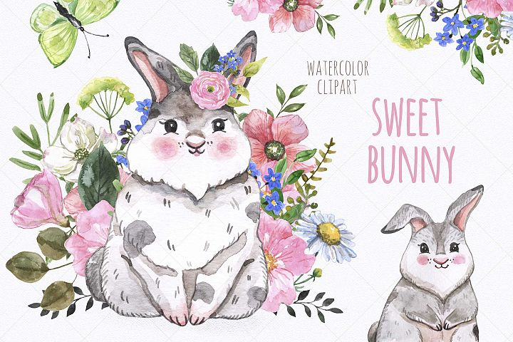 Watercolor Cute Bunny Easter Spring Little Rabbit Clipart