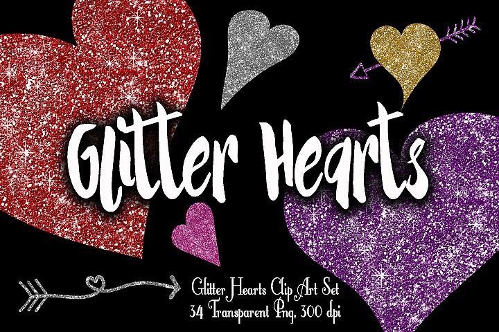 0bed73050ebb Glitter Valentine Hearts Clip Art - PNG