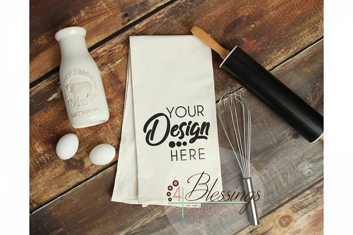 Kitchen Towel Mockup, Flour Sack Towels Mockup, Tea Towel