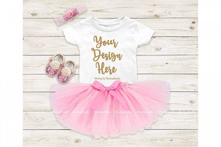 Baby Girl Tshirt Mockup, Infant Newborn White Shirt Mock Up