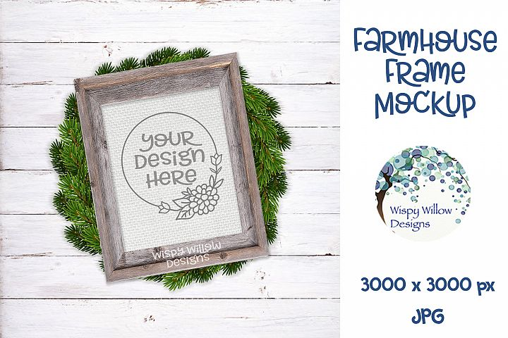 8x10 Vertical Farmhouse Frame and Wreath Mockup